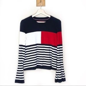 Tommy Hilfiger logo bell sleeve cropped sweater